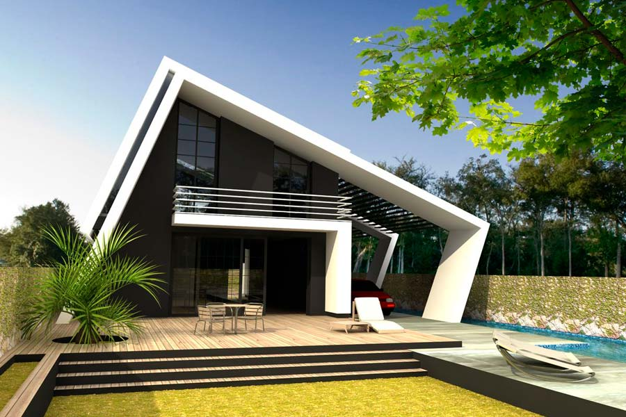 Хай тек дом сложной угловатой формы