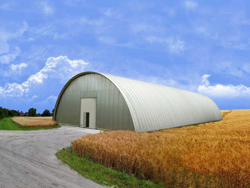 Бескаркасное арочное зернохранилище