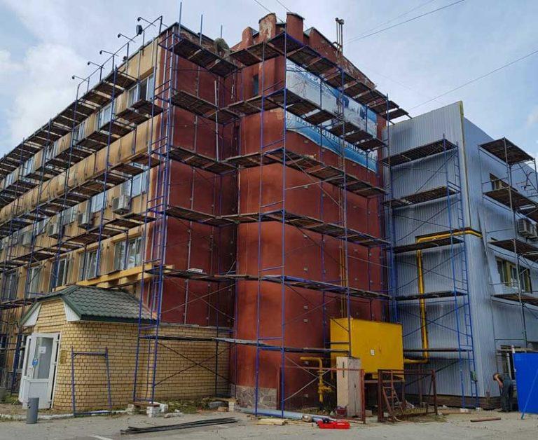 Реконструкция фасада, строительные леса