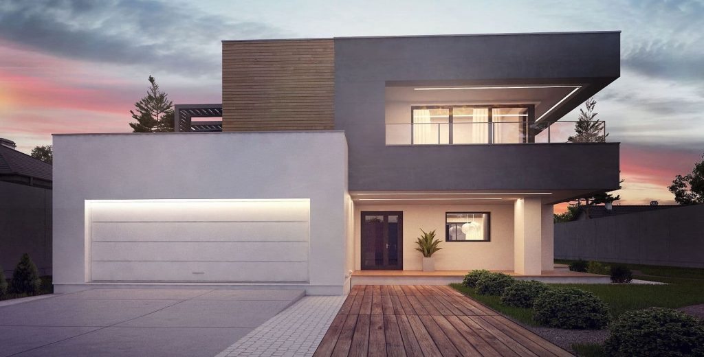 Характерный дом в стиле хай тек